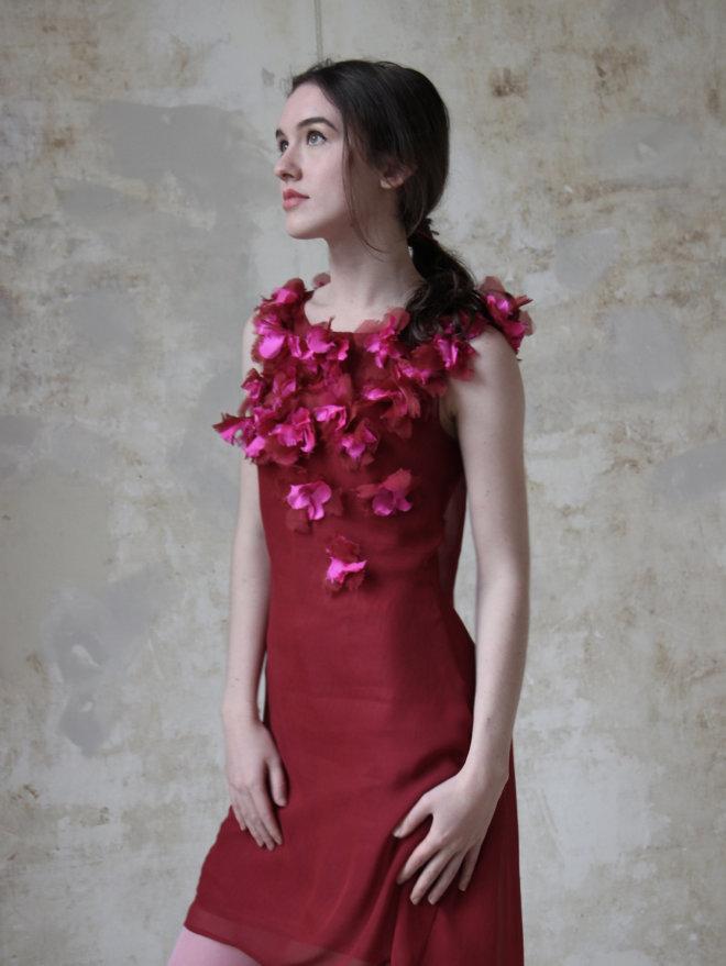 rode bloemen jurk